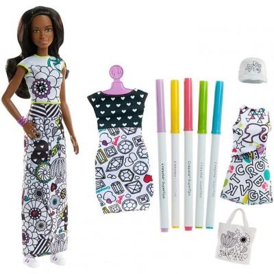 Mattel Barbie D.I.Y. Crayola Vyfarbovanie šiat černoška