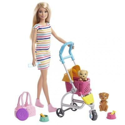 Mattel Barbie Bábika na vychádzke so psíkom